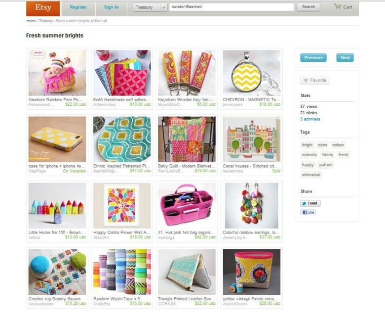 Etsy Treasury :: Fresh Summer Brights